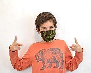cubreboca de tela reutilizables para niños con bolsillo para filtro y pieza metálica flexible en la nariz, cubre boca reve...