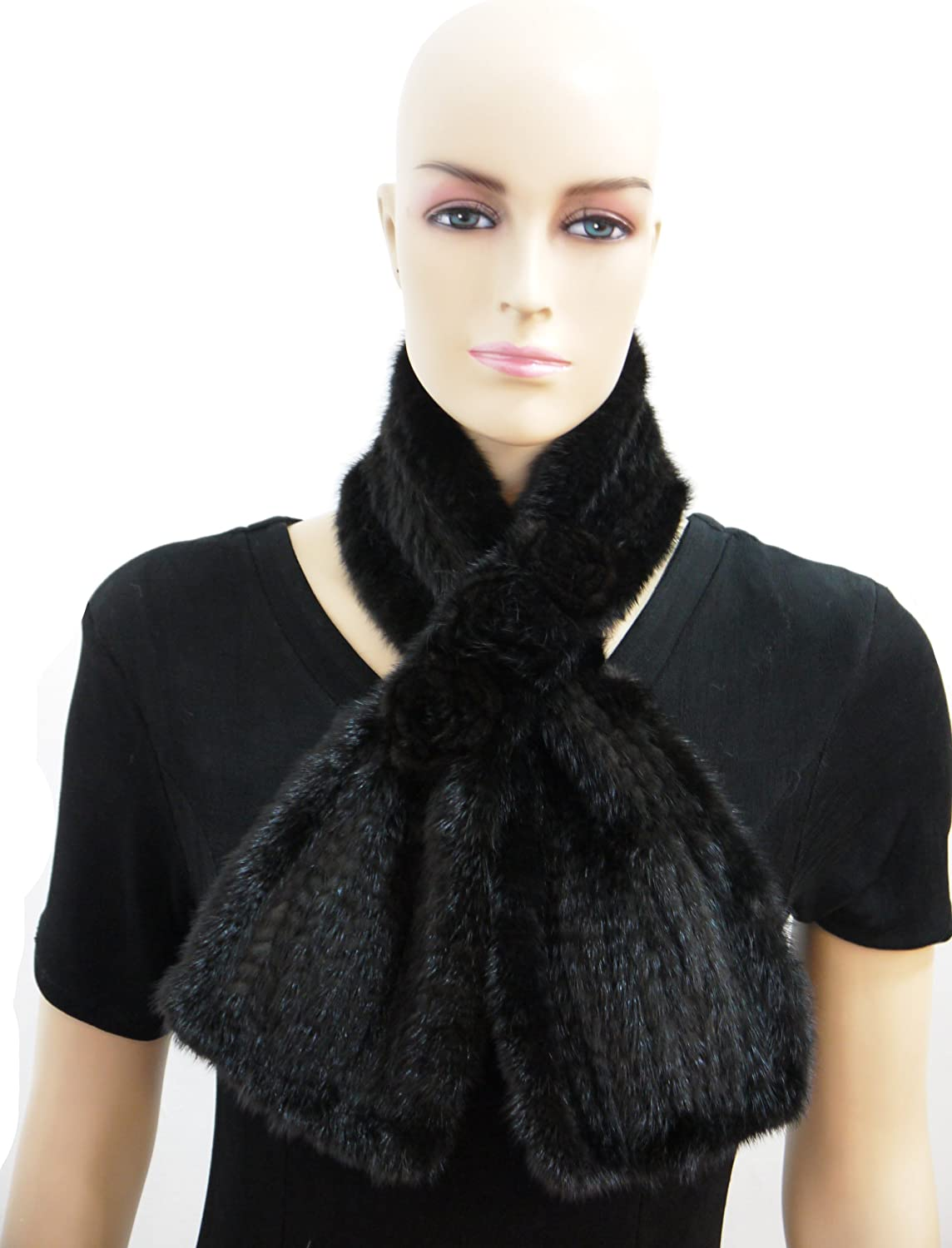 100% Mink Fur Scarf with pinktte  Brown
