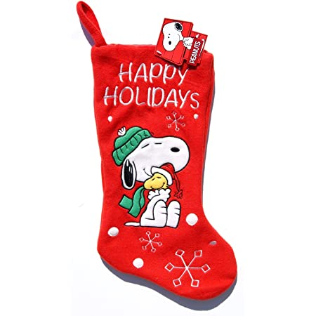 Peanuts Christmas Snoopy and Woodstock Red Stocking 15 inches