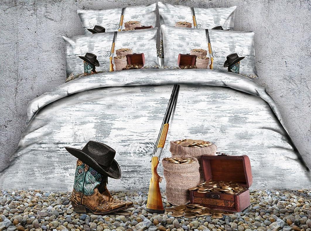 ましい川同意する帽子Bootガン3dプリント寝具セットTreasure Dovetカバーセット枕カバーBoysメンズ大人Bedspreadsホームテキスタイル寝室セットツインフル/クイーンキングCal Kingサイズ ツイン ブラウン