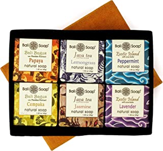 Bali Soap - Natural Small Bar Soap 6 pc Set, Papaya-Champaca-Jasmine-Lemongrass-Peppermint-Lavender, Gift Box Set, For Wom...