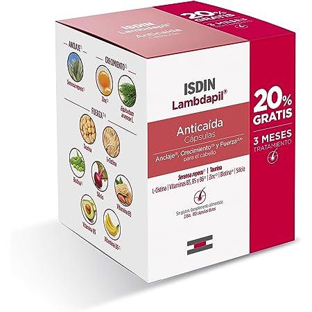 ISDIN Lambdapil Cápsulas Anticaída del Cabello, 180 Cápsulas, 20% Gratis | Fortalece el Cabello y Reduce la Caída del Mismo | 3 Meses Tratamiento
