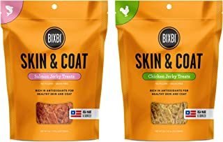 BIXBI Skin & Coat Jerky Dog Treats in 2 Flavors: (1) Salmon and (1) Chicken (2 Bags Total, 5 Ounces Each)