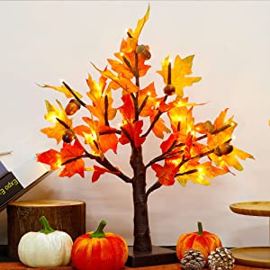 Thanksgiving Artificial Lighted Tabletop Maple Tree, 18 Inch 24 LED Light Up Fall Table Decorations Centerpiece Lights Autumn Trees, Battery Powered with Timer for Indoor Bedroom Harvest Home Decor