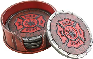 Pine Ridge Fire Department Set Of 4 Coasters With Rubber Pad Base and Holder - Volunteer Fireman Fire Fighter Gift Ideas - Beautiful Polyresin Made Firefighter Symbol Display Items