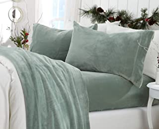 Great Bay Home Extra Soft Cozy Velvet Plush Sheet Set. Deluxe Bed Sheets with Deep Pockets. Velvet Luxe Collection (Twin, Jade)