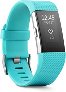 Fitbit Charge 2 – Teal/Silver – Large * * New Retail * *, FB407STEL (perakende * * YENİ * *)