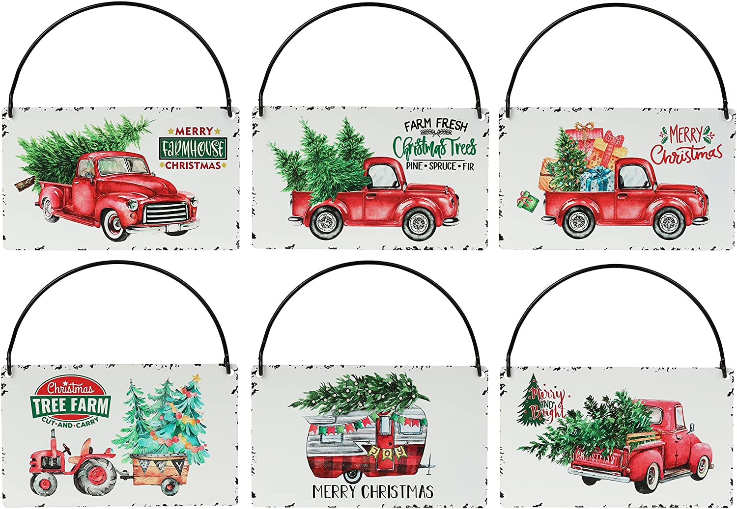 Rustic Red Truck Christmas Ornaments Set of 6,Farmhouse Enamel Hanging Signs for Christmas Tree Decorations Home Holiday Decor