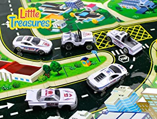 Little Treasures Die-cast Police Fleet Alloy Toy car Models Set of 5 Vehicles a Pick up Truck, Sports car, Drag Racing car, Jeep and a Sleek Looking Race car