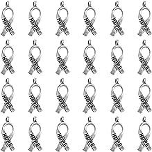 Antique Bronze Antique Silver Breast Cancer Awareness Hope Ribbon Charms Pendants(40PCS)