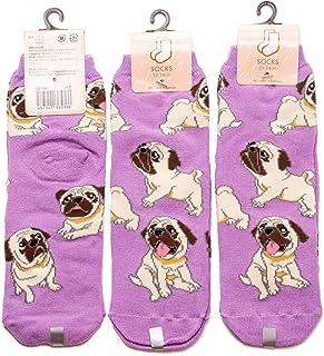 3足セット パグ レディース ソックス Pug Socks ペットとアニマルソックス Pet & Animal Socks SD-3001 ペットラバーズパープル