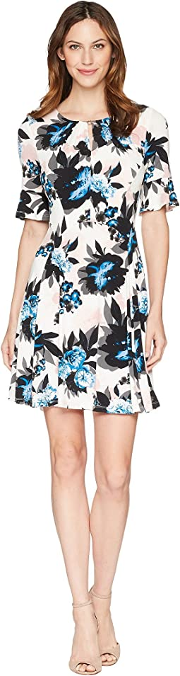 Ivanka Trump Printed Floral 3/4 Sleeve A-line Pleated Dress