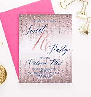 Rose Gold Sweet 16 Invitations with Envelopes, Personalized Sweet 16 Invites, Purple and Navy 16th Birthday Invitations for Girls, Your choice of Quantity, Info and Envelope Color