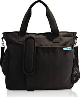 Baby K'tan - Original Diaper Bag Tote with Changing Pad, Wet Dry Bag, 14 Pockets, Stroller Straps and Machine Washable - Black Canvas