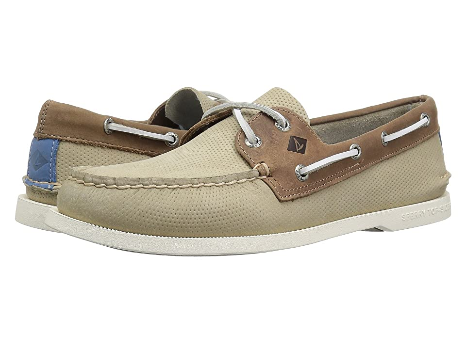 Sperry A/O 2-Eye Perforated (Cream/Tan) Men