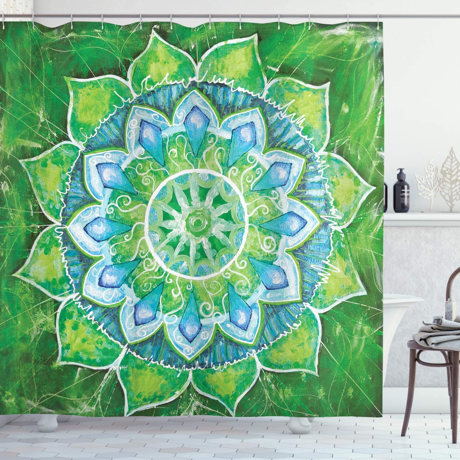 Ambesonne Mandala Shower Curtain Grand Mandala With Leaf Forms Of Nature And Theme Green Boho Style Print Cloth Fabric Bathroom Decor Set With Hooks 75 Long Blue Green Home Kitchen Amazon Com