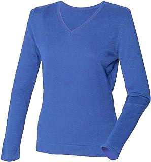 Henbury Womens/Ladies 12 Gauge Fine Knit V-Neck Jumper/Sweatshirt