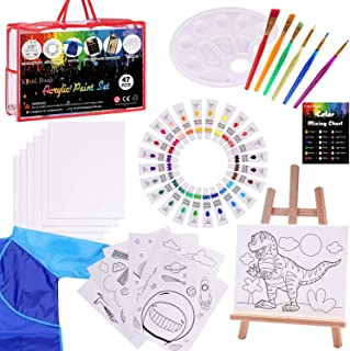 Kids Acrylic Paint Set - 47 Piece Kids Art Set with 6 Paint Brushes 8x10 Painting Canvas Tabletop Easel