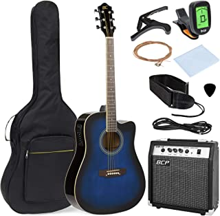 Best Choice Products 41in Full Size Acoustic Electric Cutaway Guitar Set w/ 10-Watt Amp, Capo, E-Tuner, Case - Blue