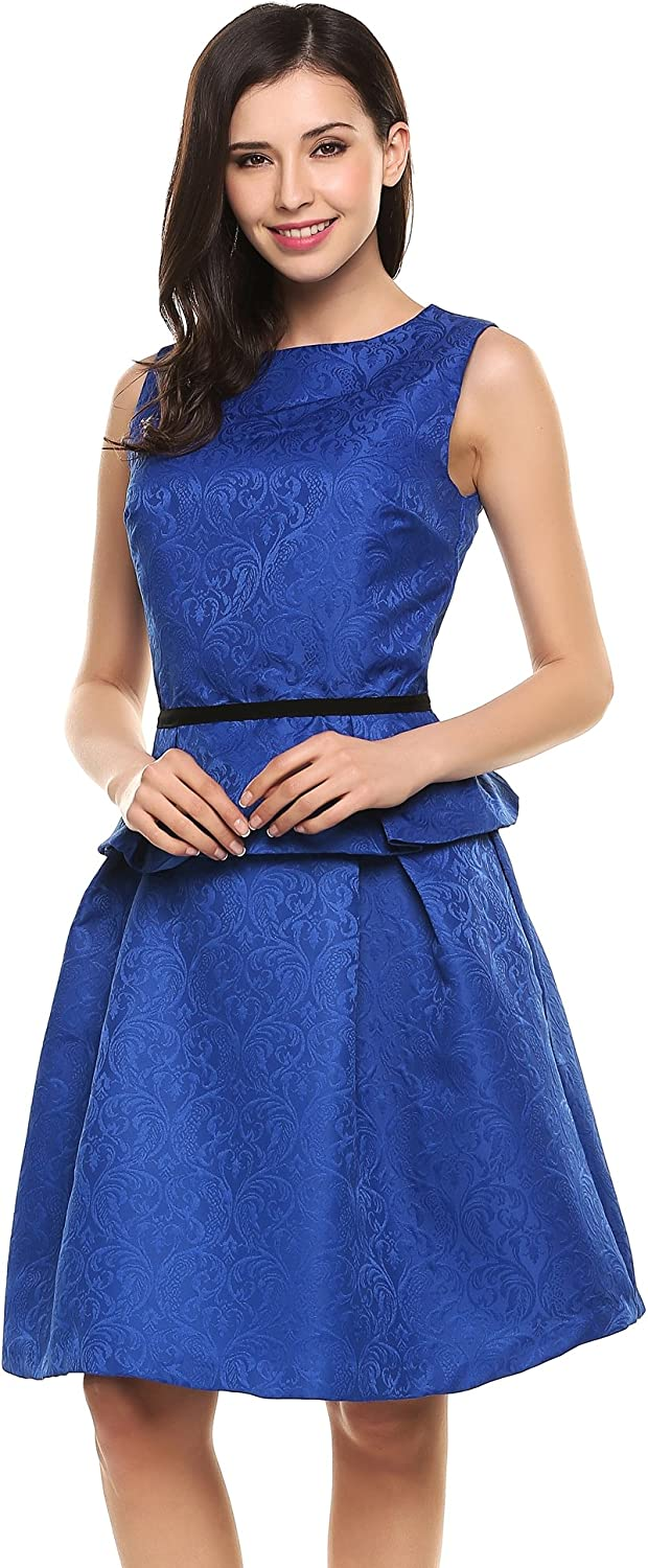 ANGVNS Women Two Piece Set Sleeveless Peplum Top and Pocket Skirt Outfit Party Dress