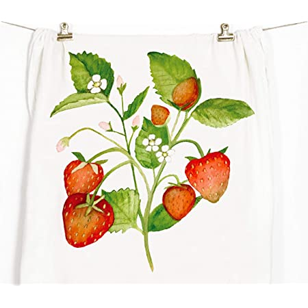Strawberries Watercolor Fruit Linen Cotton Tea Towels by Roostery Set of 2
