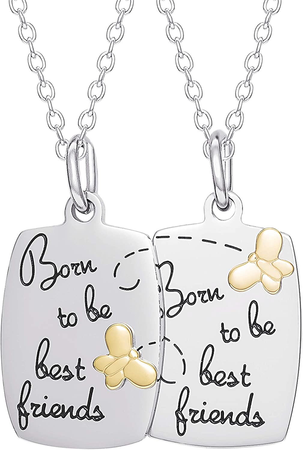 """Connections from Hallmark Jewelry, Stainless Steel """"Born to be Best Friends"""" Breakaway Pendant Set, 18"""