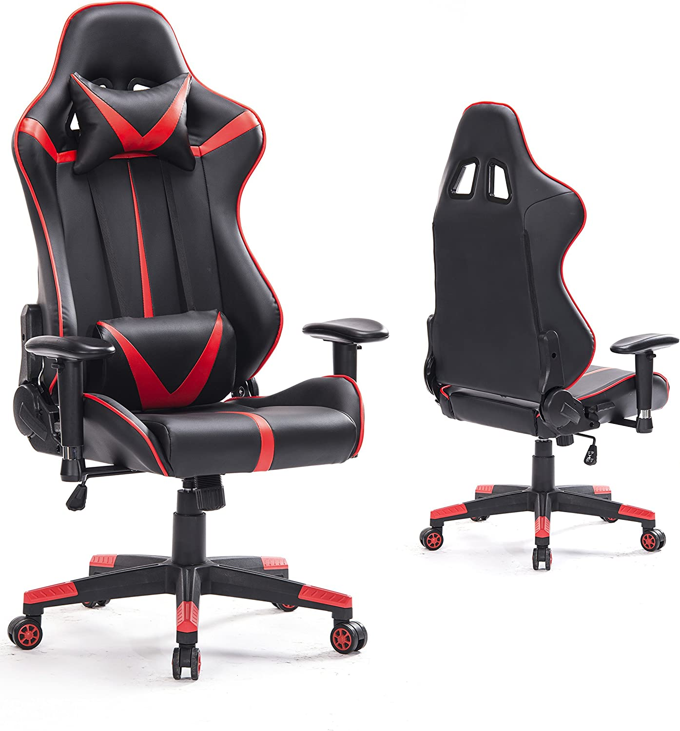 Top Gamer Racing Gaming Chair PC Computer Game Chairs for Video Game (Red Black)