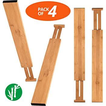 Luckyshe Bamboo Drawer Dividers, Adjustable & Spring Kitchen Drawer Dividers, Expandable & Eco-Friendly Drawer Organizers and Dividers for Kitchen, Dresser, Bathroom, Desk, Bedroom – Pack of 4