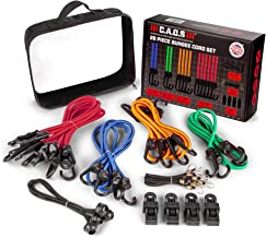 C.A.O.S Gear Bungee Cords with Hooks, 28 piece Multicolor Assortment and Bag - Heavy-Duty Elastic Bungee Rope Set with 4 Canopy Ties and Tarp Clips for Cargo, Luggage - Premium, Versatile Shock Cords