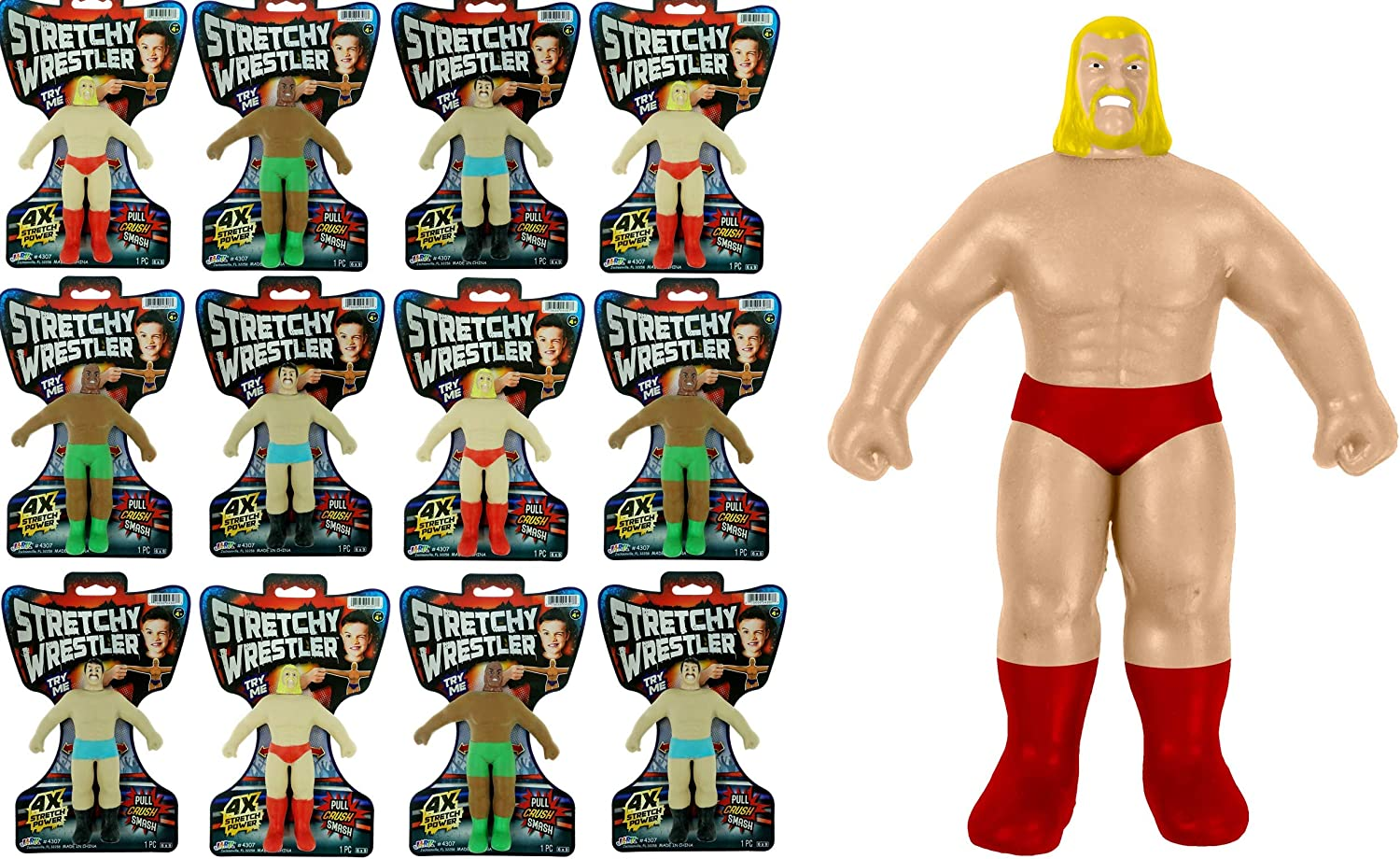 Stretchy Toy Wrestler Figures Squish 4 years warranty and Toys Pull Pack 12 Bulk latest