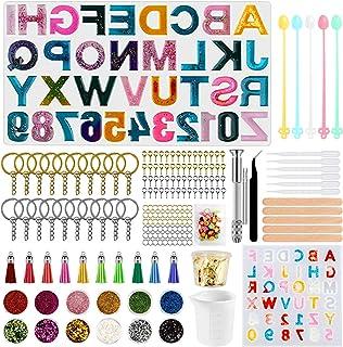 Alphabet Resin Silicone Molds, Backward Letter Number Silicone Molds for Resin, Casting Molds with Keychain Tassels for Ep...
