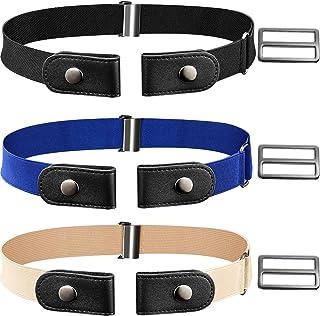 CNNIK 3 pezzi cintura elasticizzata senza fibbia con fibbie extra per donna e uomo, cintura elastica in vita fino a 78 pol...