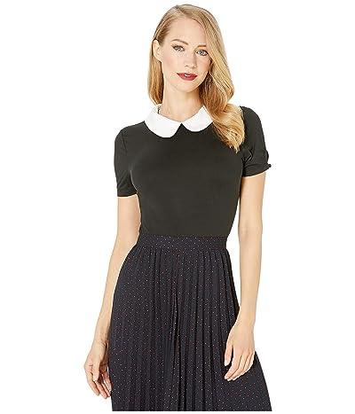 Unique Vintage 1950s High Collar Short Sleeve Robin Blouse (Black/White) Women