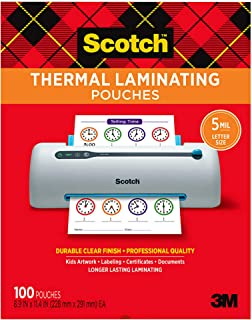 Scotch Thermal Laminating Pouches, 5 Mil Thick for Extra Protection, 100-Pack, 8.9 x 11.4 inches, Letter Size Sheets, Clea...