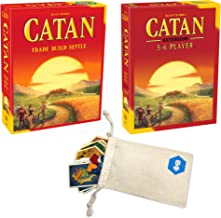 Catan Board Game with Catan 5-6 Player Extension Bundle | Includes Convenient Drawstring Storage Bag with Game Players Logo Printed
