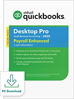 QuickBooks Desktop Pro with Enhanced Payroll 2020 Accounting Software for Small Business with Amazon Exclusive Shortcut Guide [PC Download]