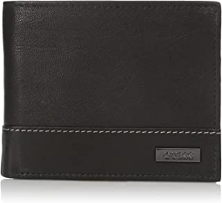 Men's Leather Passcase Wallet, Black/White, One Size