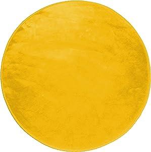 Douceur d'Intérieur LOUNA,Tappeto rotondo poliestere senape diametro 90cm