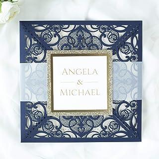50 CARTE CONFEZIONE Carta con busta partecipazioni matrimonio taglio laser fai da te blu marino inviti matrimonio