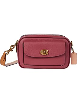 COACH Color-Block Leather Willow Camera Bag,B4/Rouge Multi