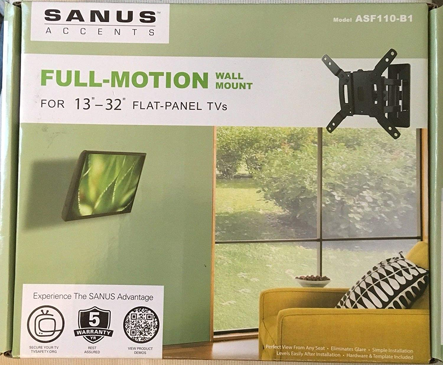 Sanus Accents Full-Motion Wall Mount for 13-32 TVS-ASF110-B1