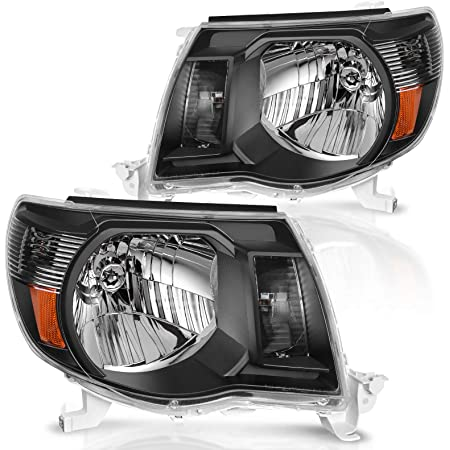 DWVO Headlights Assembly Compatible with Toyota Tacoma 2005-2011 Black Housing Headlamp