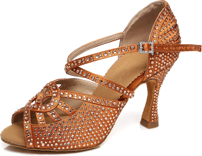 Minishion Dance Heel for Women Rhinestone Latin Shoes L466