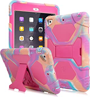 AMEISEYE Kids Case for iPad Mini 1 2 3 Full Body Protective Silicone Cover with Screen Protector Resistant Shockproof Scratchproof & Adjustable Kickstand for Apple iPad Mini 1/2/3 Case (Camo/Pink)