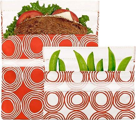 Lunchskins MP-CIRCLES-SUN Reusable Lunch Bag, 2-Pack, Sunset Circles