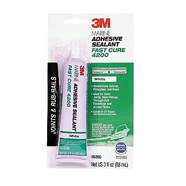 3M Marine Adhesive Sealant Fast Cure 4200 (05260) – Semi-Permanent Flexible Adhesive Sealant for Boats and Marine Applications – White – 3 Ounces