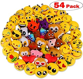 Dreampark Christmas Emoji Party Favors, 54 Pack Mini Plush Emoji Keychain for Kids Birthday Party Supplies Carnival Prizes Stuffed Animals Bulk Toy Assortment Treasure Box for Boys and Girls
