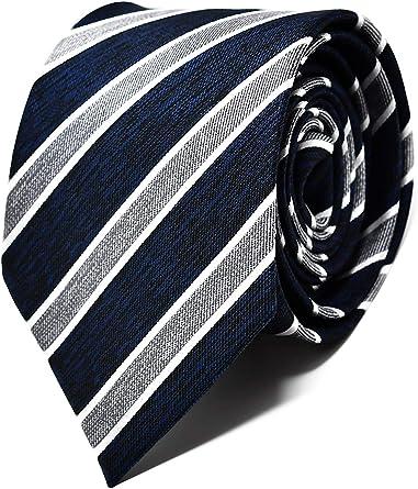 Oxford Collection Corbata de hombre Azul y Gris a Rayas - 100% Seda - Clásica, Elegante y Moderna - (ideal para un regalo, una boda, con un traje, en ...