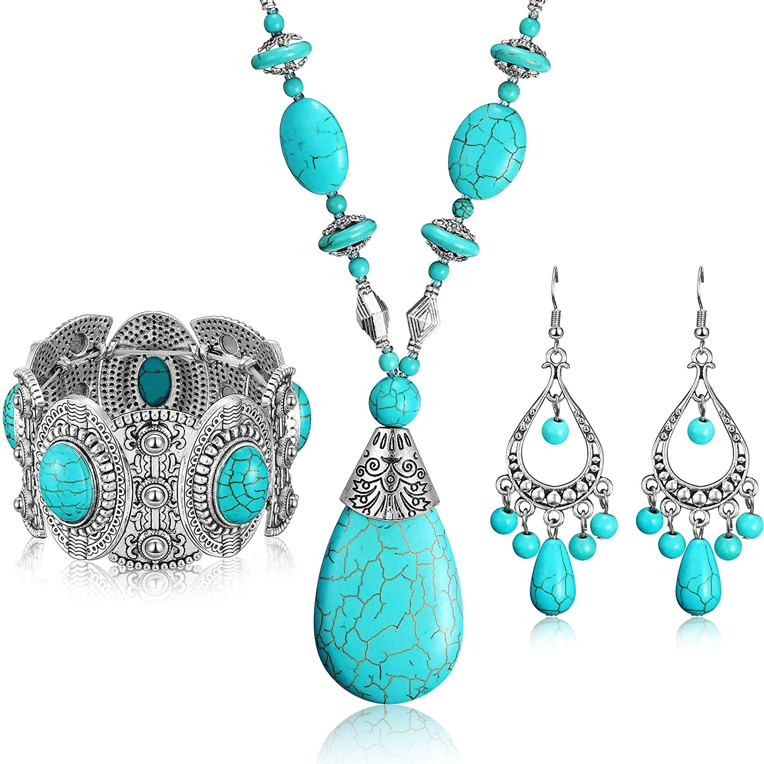 Hicarer 3 Pieces Bohemian Turquoise Set Turquoise Pendant Necklace, Vintage Turquoise Dangle Earrings, Stretchable Turquoise Bracelet for Women Statement Boho Jewelry Set