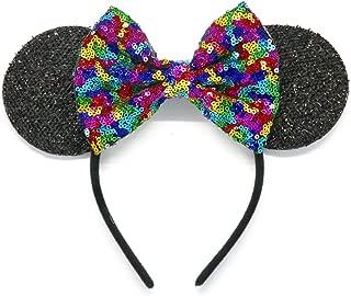 CLGIFT Rainbow Mickey Ears, Rainbow Minnie Mouse Ears, Sparkly Minnie Ears, Mouse Ears, Handmade,One Size Fits All